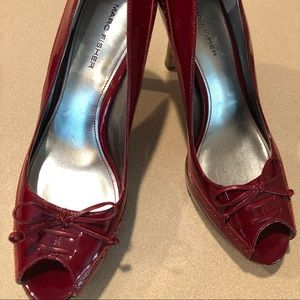 Marc Fisher Red Patten Leather Pumps